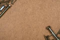 Yellow screws diagonally Stock Photos