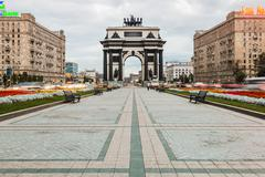 Triumphal Arch of Moscow to commemorate Russia's victory over Napoleon Stock Photos