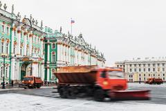 Snow removal on the Palace Square in St. Petersburg. Russia, winter Kuvituskuvat
