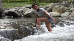 River Hiking, Hikers Stock Footage