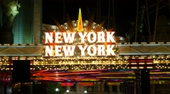 Static Las Vegas sign hotel New York. Night. Stock Footage