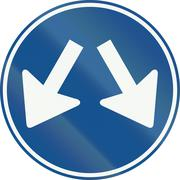 A Dutch regulatory road sign - Keep right or left Stock Illustration