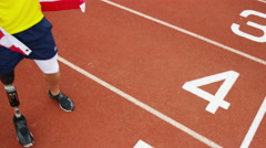 4K USA athletics team (disabled & able bodied) celebrate a victory - stock footage