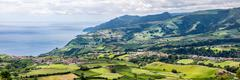 Panoramic Aerial View of Povoacao in Sao Miguel, Azores Islands Stock Photos