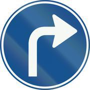 A Dutch regulatory road sign - Turn right ahead - stock illustration