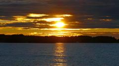 Sunset on Lake Onega, Karelia, zoom in Stock Footage