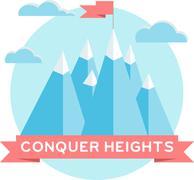 Stock Illustration of High mountains. Flat design