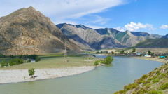 Katun River in Altai mountains, Russia, timelapse Stock Footage