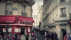 Streets of Montmartre with Sacre Coeur, Paris - Slow motion 1080p Stock Footage