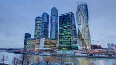 Skyscrapers International Business Center City day to night timelapse , Moscow Stock Footage