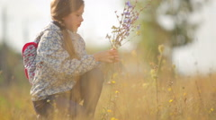 A child in a field in the countryside. Stock Footage