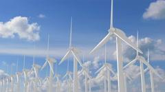 Field of wind turbines Stock Footage