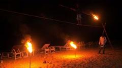 Fire show rope walker Stock Footage