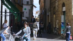 Horse-drawn in the old town of Lucca, Tuscany, Italy, Europe - stock footage