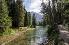 Lake Braies path - Italy, Trentino alto Adige Stock Photos