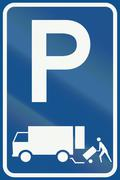Netherlands road sign E7 - Parking permitted for the immediate loading and un - stock illustration