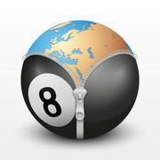 Planet Earth inside billiard ball Stock Illustration
