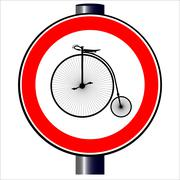 Penny Farthing Traffic Sign Stock Illustration
