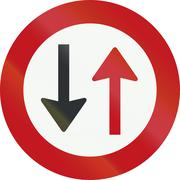 A Dutch prohibition sign - Give way to oncoming vehicles - stock illustration