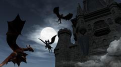 Two Red Dragons attacking the castle at night Stock Illustration