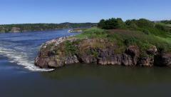Low aerial of reversing Falls Stock Footage
