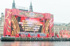 Parade on Red Square in Moscow - stock photo