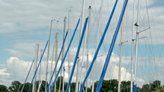 Sailboat mast under the blue sky Stock Footage