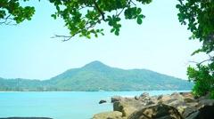 Peaceful, Rocky Tropical Beach in Kamala, Phuket, Thailand Stock Footage