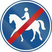 Netherlands road sign G10 - End of bridleway - stock illustration
