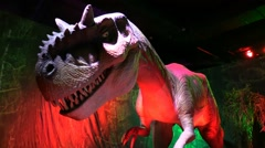 Stock Video Footage of Exhibition renovation, reconstruction and moving models of dinosaur