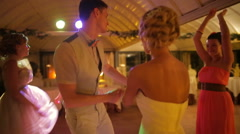 Newlyweds dancing at the wedding Stock Footage