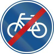 Netherlands road sign G12 - End of pedal cycles route - stock illustration