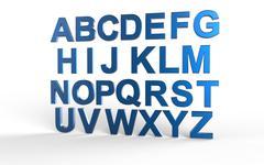 3D font, big white letters standing Stock Illustration