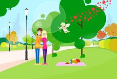 Stock Illustration of Valentine Day Gift Card Couple In Heart Shape Park Outdoor
