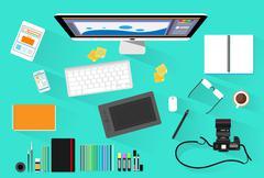 Graphic Designer Photographer Workplace Desk Computer Desktop Workstation Stock Illustration