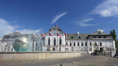 Playing fountain near Presidential Palace in Bratislava, Slovakia Stock Footage
