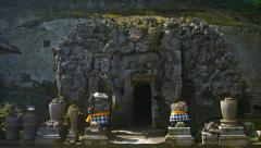 Intricately Carved Entrance to Temple Cave at Tirta Empul, Bali, Indonesia Stock Footage
