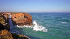 Ocean waves rolling on rocks, rapid Stock Footage