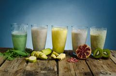 Smoothie day, healthy and delicious Stock Photos