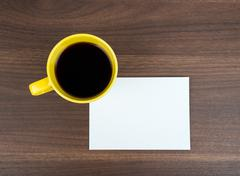 Blank card with coffee - stock photo