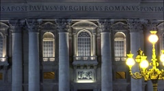 ULTRA HD 4K real time shot,The St. Peter's Basilica at night in Vatican Stock Footage