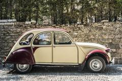Classic Citroen ready for a road trip in Spain. Stock Photos