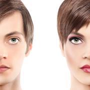 Portrait half woman half man, androgyny concept Stock Photos