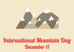 Poster for International Mountain Day (December 11) - stock illustration