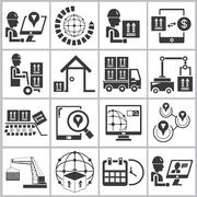 Logistics and shipping icons Piirros