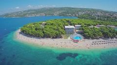 Primosten peninsula beaches aerial shot Stock Footage