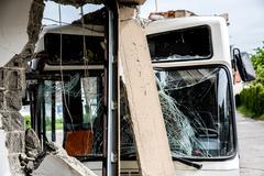 Bus crashed into a wall Stock Photos