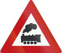 Netherlands road sign J11 - Level crossing without barrier or gates ahead Piirros