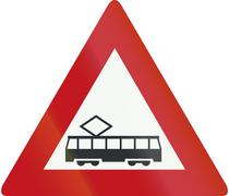 Netherlands road sign J14 - Tram (crossing) ahead - stock illustration