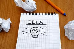 Stock Photo of Idea and light bulb